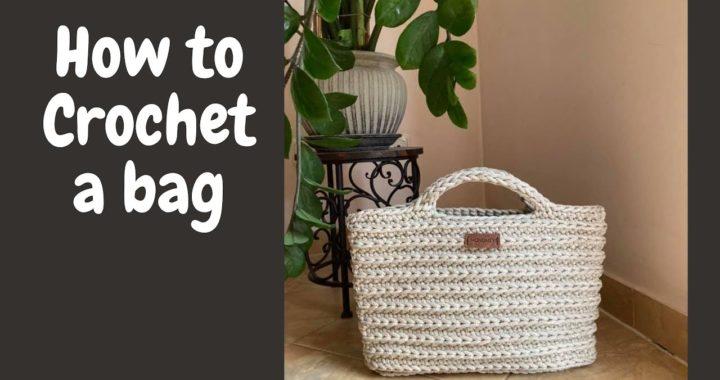 "Easy crochet TOTE BAG video tutorial. ""Cute bag"". Perfect for beginners."