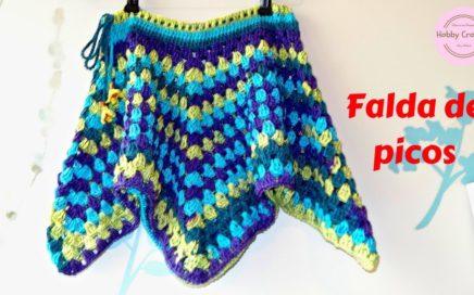 Falda de picos a crochet paso a paso (Versión diestra)