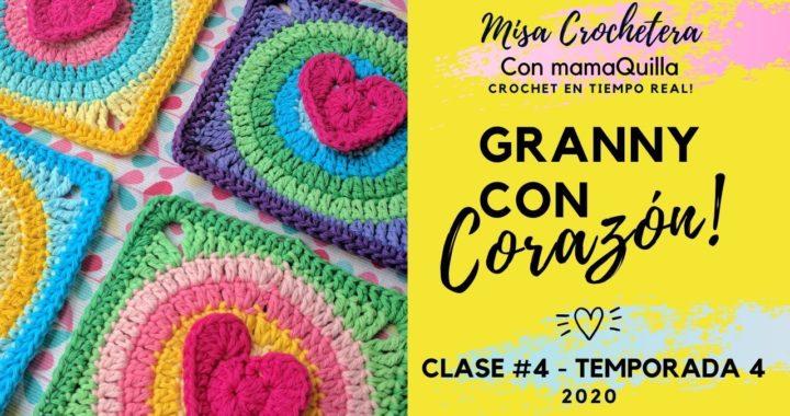 GRANNY CON CORAZÓN - Crochet En Tiempo Real Con mamaQuilla!