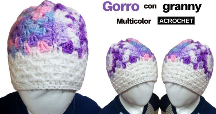 🌟 Gorro a Dos Agujas Multicolor a Crochet ✔ Tejidos a Crochet Ganchillo