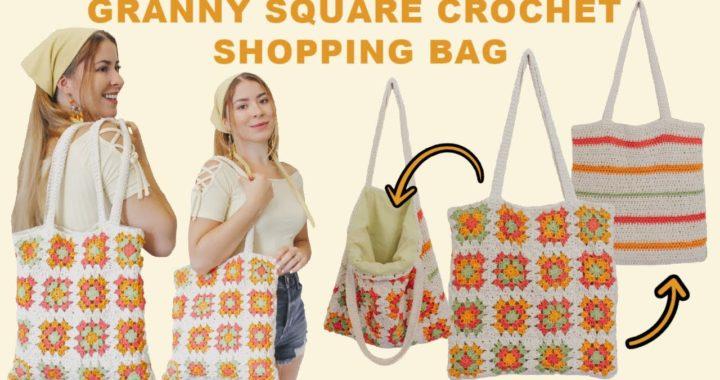Granny Square Crochet Bag | Crochet Shopping Bag