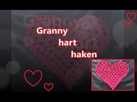 Granny hart haken - crochet granny heart