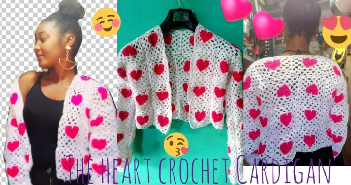 Heart crochet Cardigan tutorial//crochet cardigañ