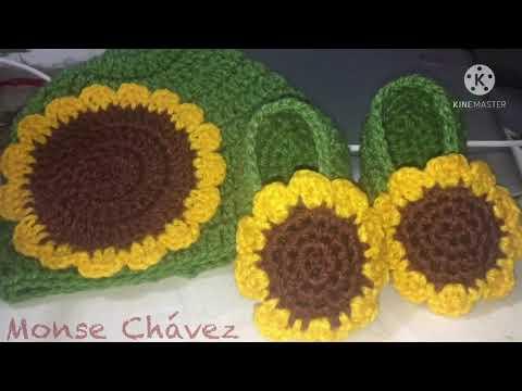 Hermosos zapatos y gorro de girasol tejidos a crochet paso a paso fácil talla 6 a 12 meses parte 2