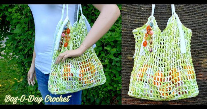 How to Crochet An Easy Market Bag | The Go Green Grocery Bag |  BagODay Crochet Tutorial #501