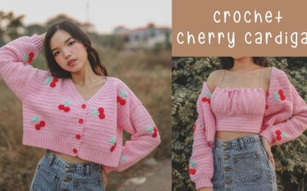 How to Crochet Crop Cherry Cardigan | Crochet Cardigan Tutorial | Chenda DIY