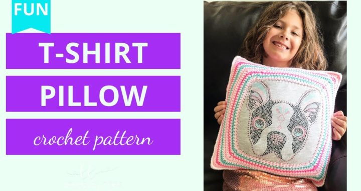 How to Crochet a Pillow | Upcycle tshirt into Pillow Tutorial | Granny square Pillow