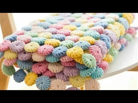 How to crochet Clircle afghan blanket free easy pattern tutorial for begginerكروشيه مفرش سرير وردات