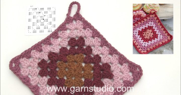 How to crochet the pot holder with Granny square in DROPS Extra 0-1471