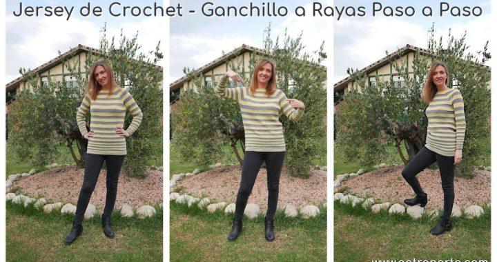 Jersey de Crochet - Ganchillo a Rayas Paso a Paso | Sweater de Crochet de 1 Pieza