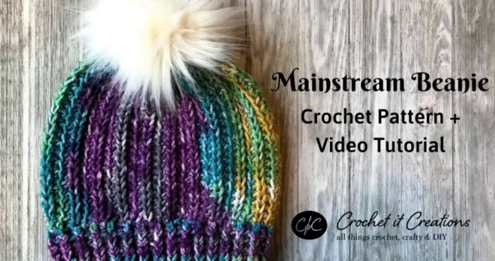 Mainstream Beanie Crochet Pattern Video Tutorial | Foundations Half Double Crochet + Post Stitches