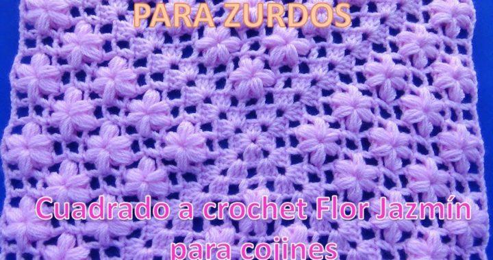 PARA ZURDOS: Cuadrado a crochet en punto flor Jazmín para aplicar en cojines y mantitas de bebe