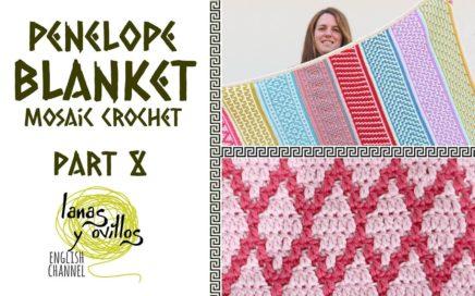 🌈 PENELOPE BLANKET 🌈   Mosaic Crochet   PART 8   Lanas y Ovillos in English