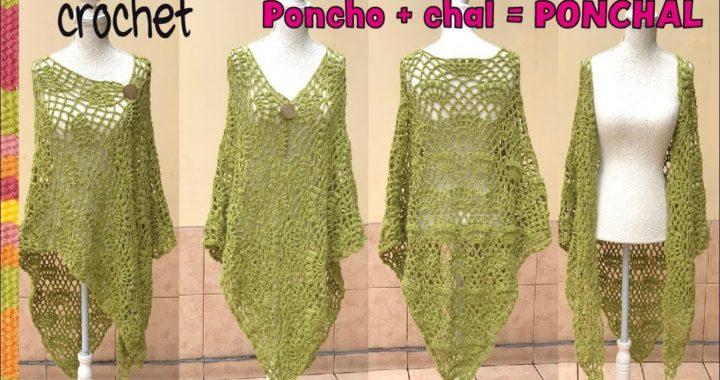 Poncho / Chal (Ponchal) con abanicos tejido a crochet - Tejiendo Perú