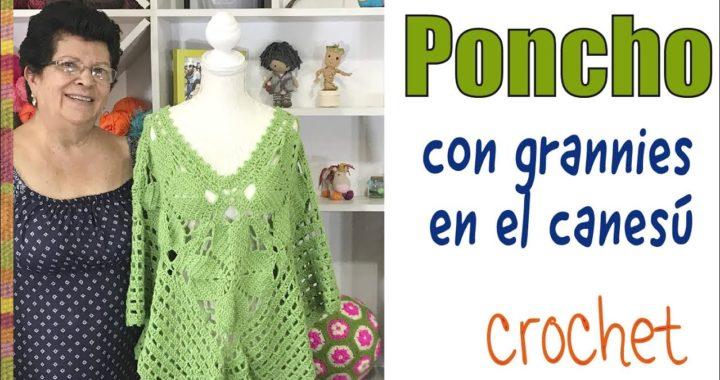 Poncho on canesú de grannies floreados tejido a crochet -  Tejiendo Perú