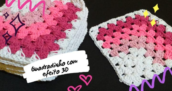 Quadradinho com efeito 3D em Crochê
