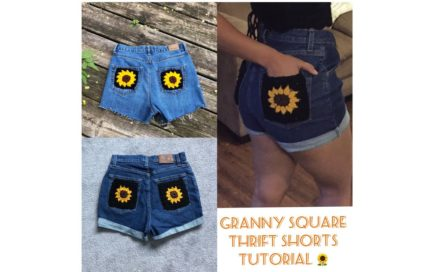 Sewing a Granny square patch on mom jeans   Beginner Friendly   Hookin_youup