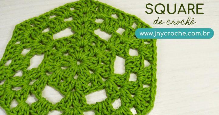 Square de crochê verde | para tapete - JNY Crochê