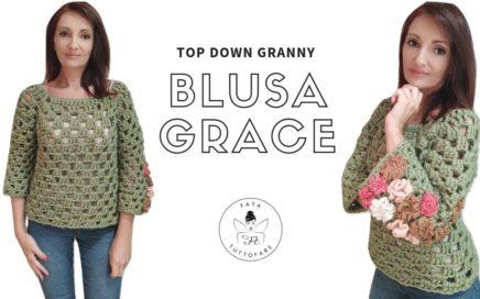 """TUTORIAL: Maglia """"Grace"""" a punto granny/top down granny *lafatatuttofare*"""