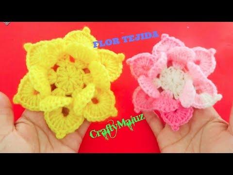 #TUTORIAL#CROCHET# HAZ UNA LINDA FLOR TEJIDA (PASO A PASO) flor a crochet paso a paso