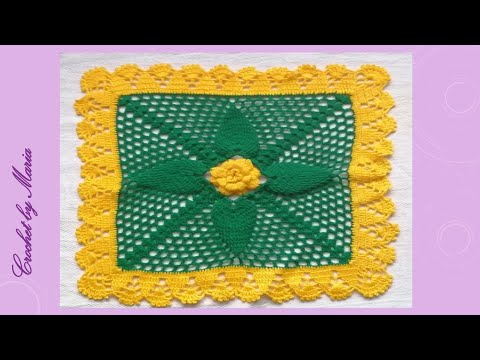 Tapete Cuadrado tejido a crochet (40cm aprox.)18 Hileras