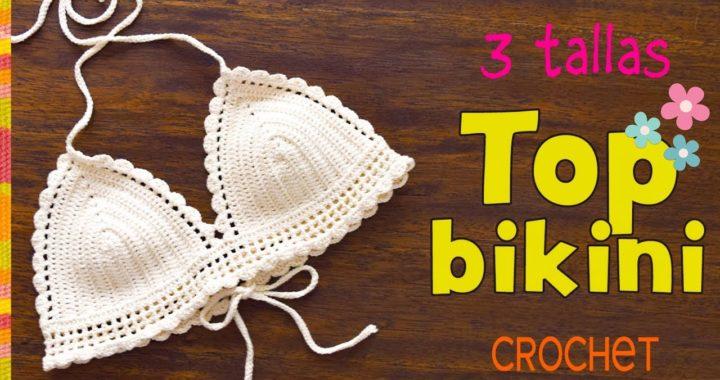 Top modelo bikini con bordes de ondas tejido a crochet en 3 tallas - Tejiendo Perú
