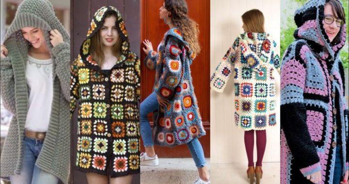 Trendi Elegant Knitted Granny Square Patrones Con Capucha Cardigans & Shrugs For Girls 2021