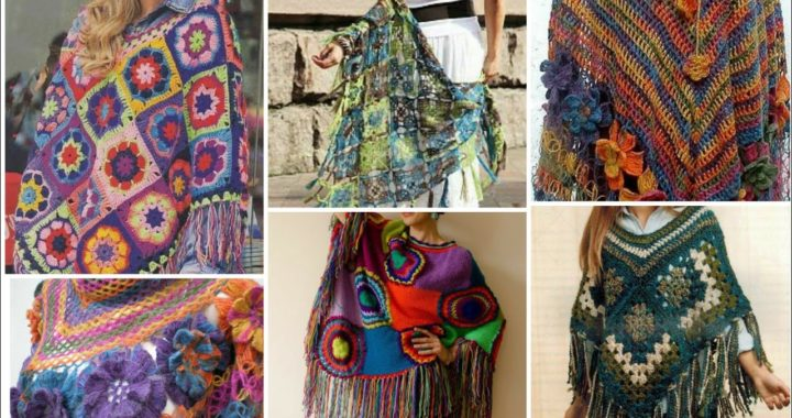 Trendy designer handmade warm wool fabric multicolor granny sequare pattern poncho shawls for girs