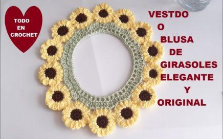VESTIDO * BLUSA a Crochet de GIRASOLES * para niñas * paso a paso * ELEGANTE Y ORIGINAL