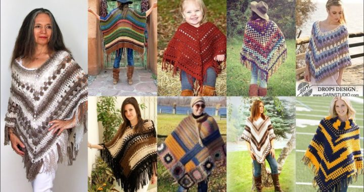 granny square Elegant Crochet Knitted Trendi Triangle Ponchos y patrones de chal #short
