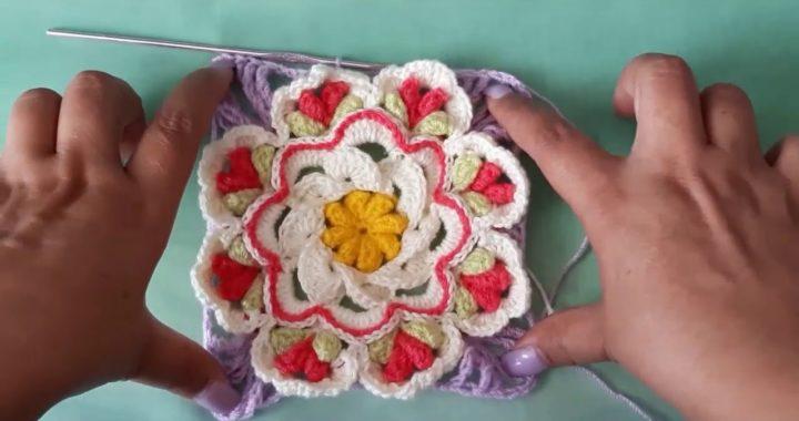 granny square a crochet - granny a crochet de flores -  cuadro de la abuela a ganchillo - parte #2