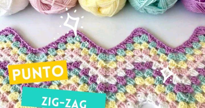 punto ZiG-ZAG a crochet fácil y ☀️ rápido / especial para mantas de bebé✨ 🌅🌈