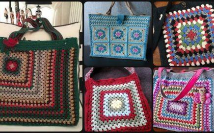 #short Granny Square Handbags/Beautiful handmade exclusive tote bags