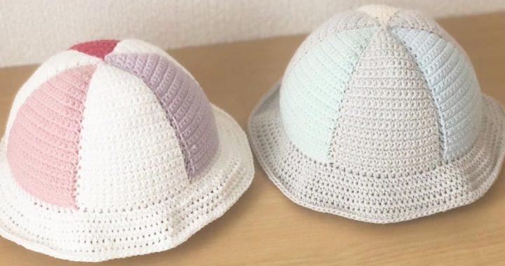 【かぎ針編み】2色パラソル帽子ベビーサイズの編み方