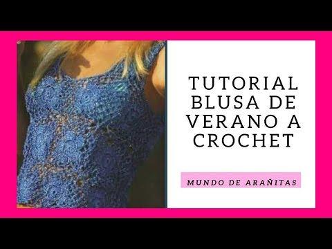BLUSA tejida a crochet ❤️AZUL CALADA 👚Paso a paso