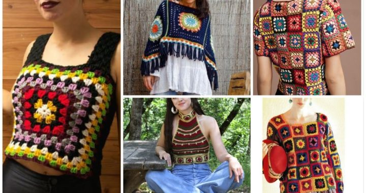 Beautiful And New Crochet 45 Knitted Granny Square Blouse Top & Dress Designes Ideas