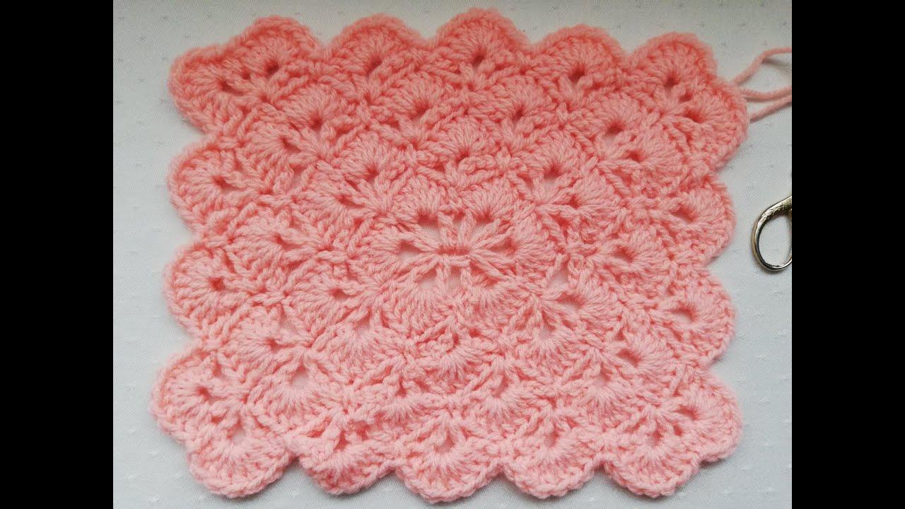 Beautiful Shells stitch crochet rectangle Crochet Nuts
