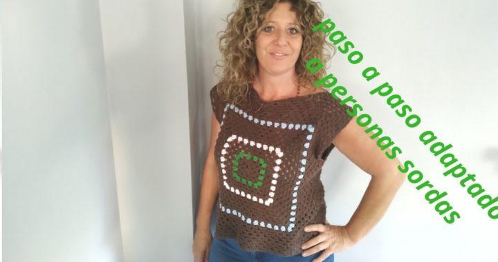Blusa/ camiseta con grannys a crochet para zurdos