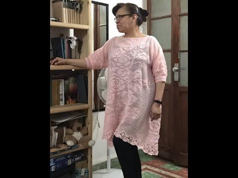 Blusa rosa a filet - crochet (Parte 2 de 10) cómo trabajar la técnica filet crochet