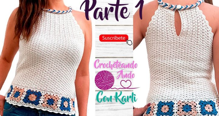 Blusa tejida a crochet con trenza  Parte 1 - Fácil y todas las tallas - tutorial paso a paso