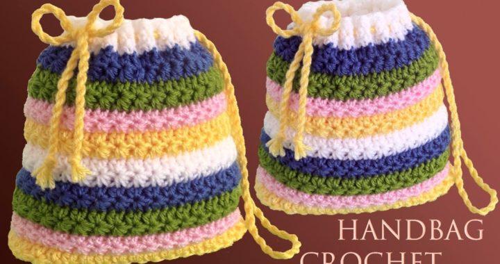 Bolso Morralito fácil de tejer a Crochet Punto de estrellas tejido a ganchillo para principiantes