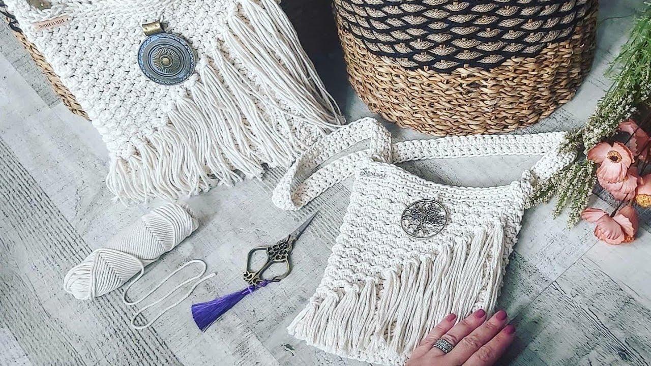 Bolso fácil  a crochet. Estilo macramé. Bohemian crochet bag.