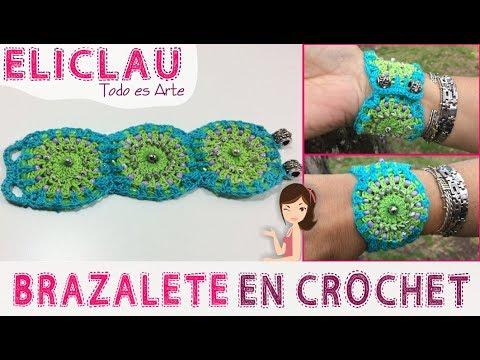 Brazalete con 3 Granny Square | Bracelet with 3 Granny Square | EliClau