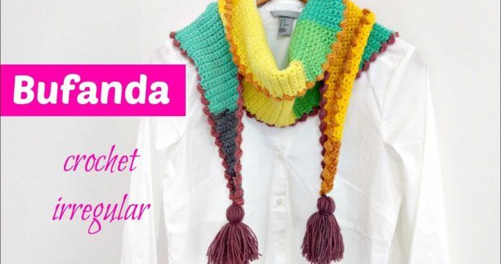 Bufanda crochet corte irregular muy fácil