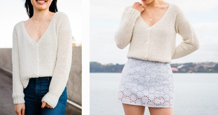 Button Down Crochet Cardigan - How to crochet a cropped v-neck cardigan for fall!