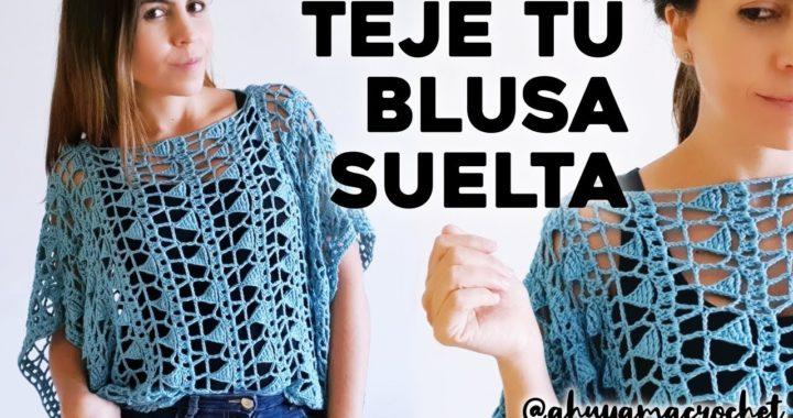 CÓMO TEJER BLUSA A CROCHET: teje una blusa suelta a crochet en punto calado   tutorial paso a paso
