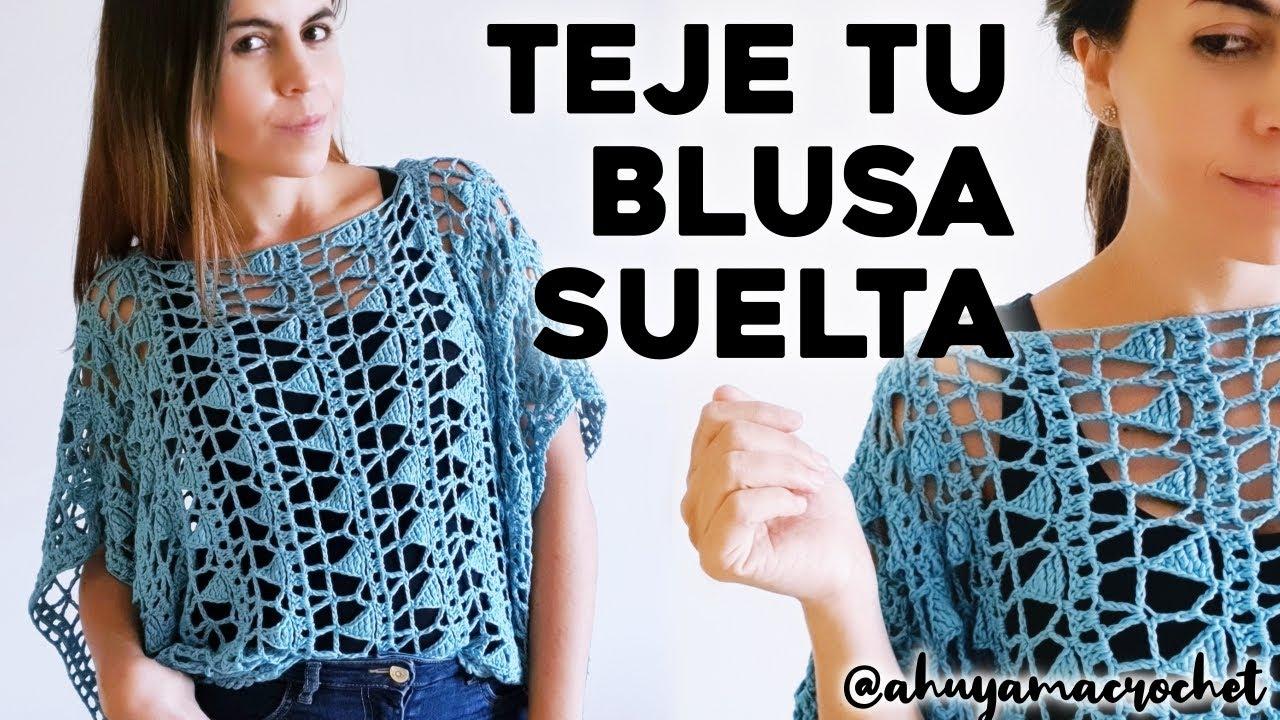 CÓMO TEJER BLUSA A CROCHET: teje una blusa suelta a crochet en punto calado | tutorial paso a paso
