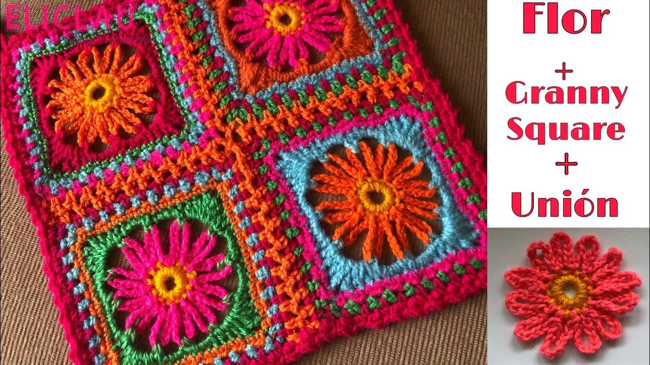 CÓMO hacer un GRANNY SQUARE con FLOR CENTRAL + UNIÓN  Paso a Paso a Crochet | EliClau