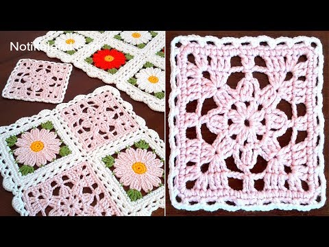 CROCHET EASY Crochet Granny Square  Lace Motif #4  How to join motifs