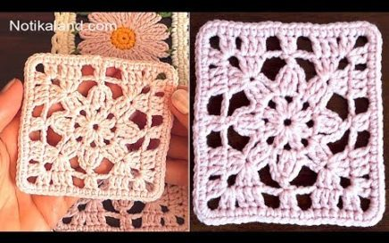 CROCHET EASY Crochet Granny Square  Lace Motif #4  for beginners
